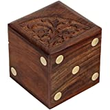 Fine Craft India Dice Game Set Of 5 Dices With Beautifully Carved Wooden Dice Box Case MN-wooden_dice_box_2