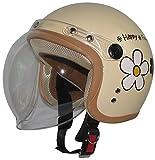【レディース・キッズ】スモールジェットヘルメット バブルシールド付 ハッピーフラワー/アイボリー 54cm~57cm未満
