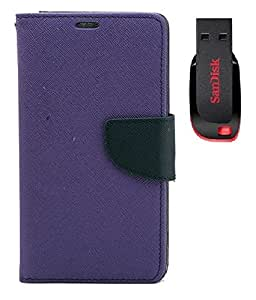 YGS Premium Diary Wallet Case Cover For HTC Desire 828-Purple With Sandisk Pen Drive 8GB