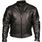 Leather Motorcycle Jacket (Black, Size 42)