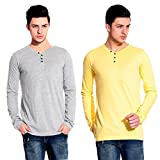 Lemon & Vodka Combo Pack Of 2 Henley Mens Solid Tshirt-CMB-7