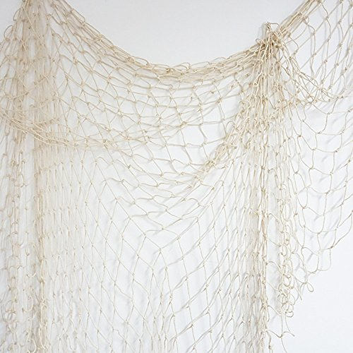 Bilipala Fishing Net, Fishing Net Decor, Wall Decor, Nautical Style, 75 Inch, Creamy White (Fishing Net Decor compare prices)