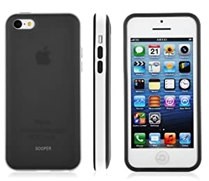 SOOPER Dark Grey Matte TPU Dual Tone Bumper Case Cover For iPhone 5c (Grey Matte Case)