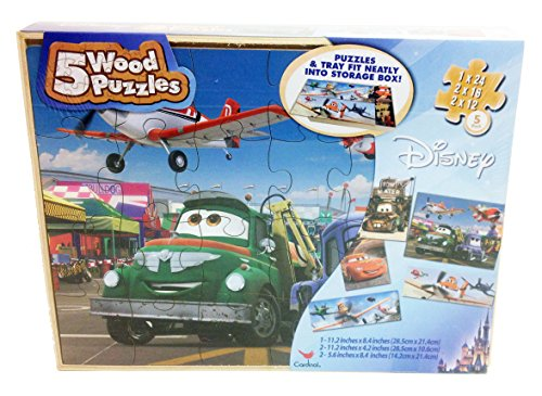 Disney Cars And Planes Wooden Puzzle - 5 Different Puzzles With Storage Box front-898022