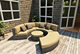 Forever Patio Hampton Radius 4 Piece Rattan Patio Sectional Set with Golden Sunbrella Cushions (SKU FP-HAMR-4SEC-HT-WM)