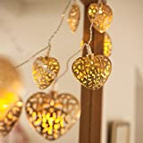 10 Gold Filigree Heart Battery Operated LED Fairy Lights by Lights4fun