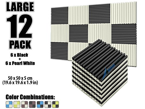 arrowzoom-new-12-pack-of-196-x-196-x-19-inches-black-and-pearl-white-soundproofing-insulation-metro-