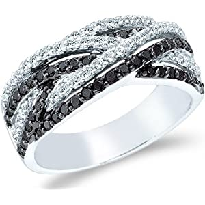 14K White Gold Black and White Diamond Wedding Anniversary Ring