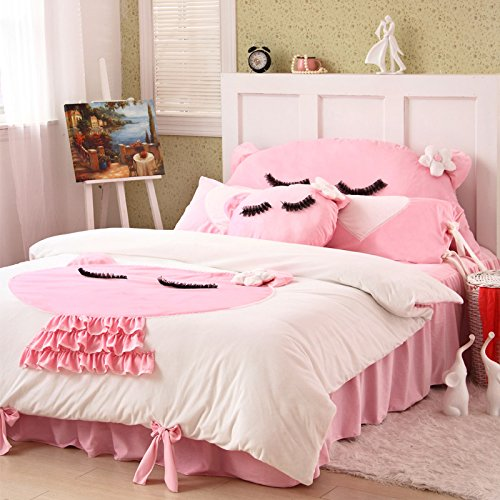 Cute Kitty White Duvet Cover Set Princess Bedding Girls Bedding Women Bedding Gift Idea, Queen Size
