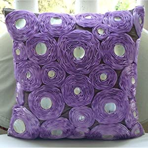 Lavender Roses - 16x16 inches Square Decorative Throw Purple Silk Pillow Covers with Satin Ribbon Embroidery
