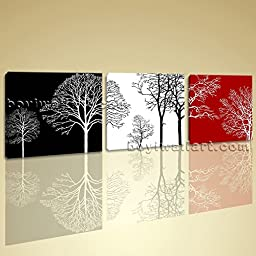 Large Giclee Print Canvas Wall Art Framed Ready to Hang 3 Pieces Abstract Tree 3 Pieces Wall Art Inner Framed Ready To Hang BoYi 62\