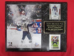 Tedy Bruschi New England Patriots 2 Card Collector Plaque w 8x10 photo SNOWBALL PHOTO by J & C Baseball Clubhouse