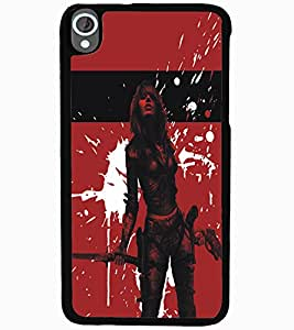 ColourCraft Warrior Girl Design Back Case Cover for HTC DESIRE 820