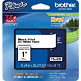 """Brother P-Touch PT-2430PC Label Tape (OEM) 1"""" Black Print on White"""