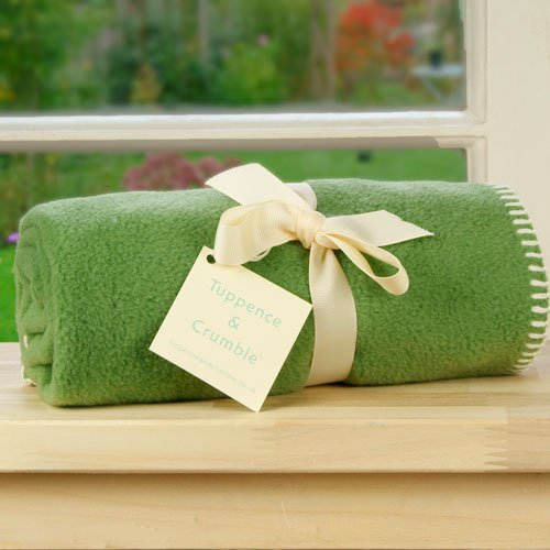 Tuppence and Crumble soft fleece baby blanket Fern