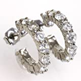 チタン ポスト ハーフエタニティ CZダイヤモンド ピアス type1 Titanium Half Eternity Cubic Zirconia Hoop stud earrings(キュービックジルコニア チタニウム レディース 女性)