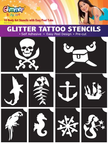 Glitter Tattoo Stencils (Pirates and Mermaid)