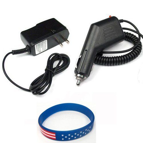 Blackberry 9650 Bold Accessory Bundle - Car Charger + Home Travel AC Charger + Free Stars Stripes Silicone Wristband