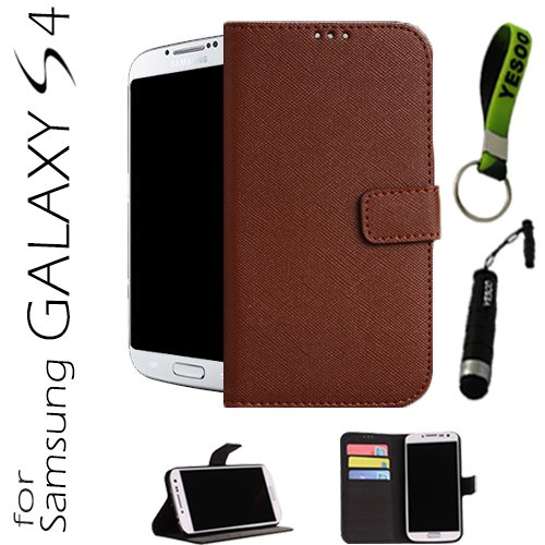 Yesoo Luxury High Quality Pu Leather Wallet Case With Wake Up Sleep Function For Samsung Galaxy S4 Iv S 4 I9500, Colorful Interior Including Credit Cards Holder & Pockets To Keep Bank Cards, Driver License, Id Cases Come With Aluminum Touch Pen And Silico