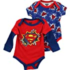 Superman Broken Chains Red/Blue 2-Pack Infant Bodysuit Set (12M)