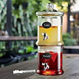 Glass Stackable Double Beverage Dispenser with Lid - For Lemonade or Iced Tea, Centerpiece (1 Gallon Each)
