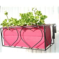 Green Gardenia Iron Heart Design Railing Planter With Wooden Box-Pink