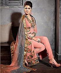 Aayushman Womens Net Anarkali Semi-Stitched Dress Material (Bsd31984 _Salmon Pink)