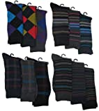 Mens Pattern Dress Socks, 12 Pair, Pattern Variety, Size 10-13