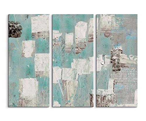130x 90cm 3teiliges Impression sur toile Photo Toile Turquoise Bleu Beige Gris
