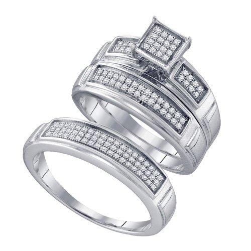 Sterling Silver 1/3 ct. Diamond Trio Engagement Set