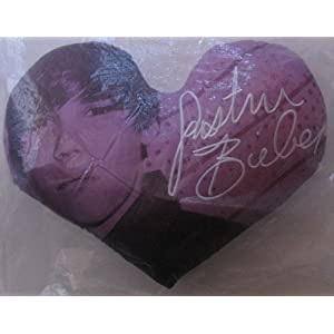 Justin Bieber Pillow on Amazon Com  Justin Bieber Heart Shaped Throw Pillow Purple And White