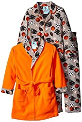 Bunz Kids Little Boys' 3pc Boys Sports Robe and Pajamas Sets, Orange, 7