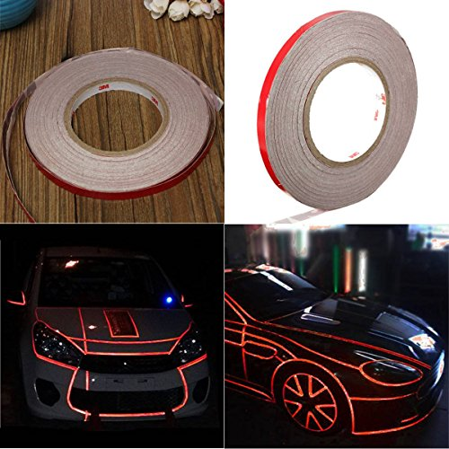AUDEW 45m x 10mm Car Reflective Body Rim Stripe Sticker DIY Tape Self-Adhesive 150feet (Red Rims For Cars compare prices)