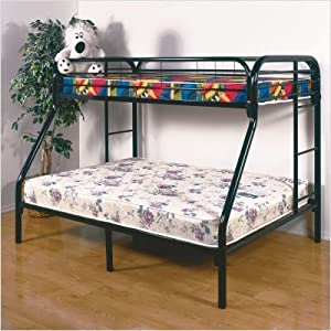 Gavin Twin over Full Metal Bunk Bed in Black by Home Line Furniture