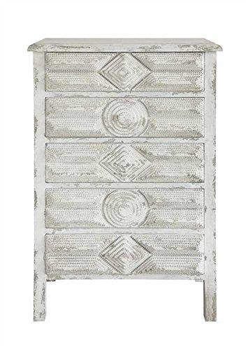 White Vintage Tramp Art Pine Dresser