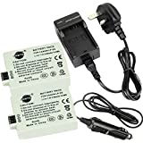DSTE® 2x LP-E5 Rechargeable Li-ion Battery + DC27U Travel and Car Charger Adapter for Canon EOS 450D 500D 1000D Kiss F X2 X3 Rebel XS XSi T1i Digital Camera