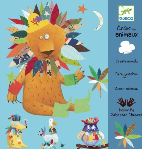 Djeco Create Animals with Stickers Arts and Crafts Kit