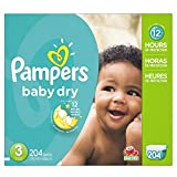Pampers Baby Dry Diapers Economy Pack Plus, Size 3, 204 Count (One Month Supply)