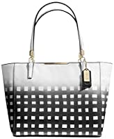 Coach Madison Gingham Saffiano EW Tote (White/Black)
