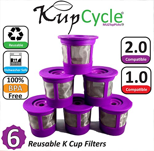 6 Pack KupCycle Reusable K Cup Filters for Keurig 2.0, Backwards Compatible with Keurig 1.0, Cuisinart, Breville, and Mr. Coffee Single Cup Coffee and Tea Brewing Machines. (Keurig 65 Special Edition compare prices)