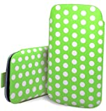 Excellent Accessories - Blackberry Curve 9360 / 9380 - Green & White Multi Polka Dot Design Pull Tab Protective Pouch Case Cover With Pull Tab Function
