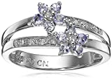 Sterling Silver Tanzanite and Diamond Floral Cluster Ring