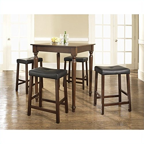 Crosley 5 Piece Pub Dining Set w/ Turned Leg and Upholstered Saddle Stools in Vintage Mahogany