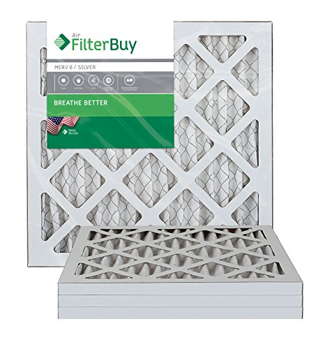 AFB Silver MERV 8 12x16x1 Pleated AC Furnace Air Filter. Pack of 4 Filters. 100% produced in the USA.