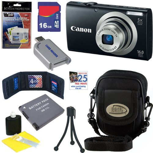 Check Out This Canon PowerShot A2300 16.0 MP Digital Camera with 5x Digital Image Stabilized Zoom (Black) + NB-11L Battery + 16GB Deluxe Accessory Kit