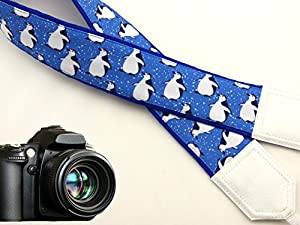 InTePro Penguin camera strap. Blue and white camera strap. DSLR / SLR Camera Strap. Durable, light weight and well padded camera strap. code 00037
