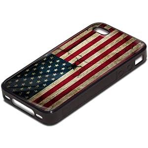 Drapeaux USA 4, Carte du Monde, Antichoc Tough Silikone Rigide Coque Etui Case Housse Noir avec l'Image Coloré pour Apple iPhone 4 4S.