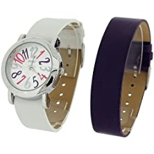 buy Spirit Ladies Analogue Purple & White 2 Interchangeable Watch Strap Set Aspl60
