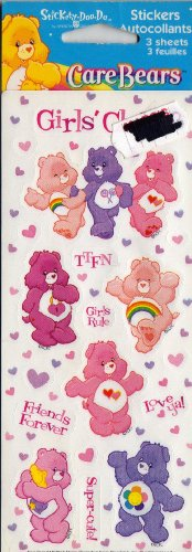 Care Bear Stickers 3 Sheets- 12 Stickers
