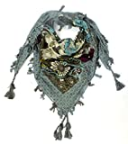 Craftshub Stylish Printed Multicoloured Holiday Square Scarf with Tassels